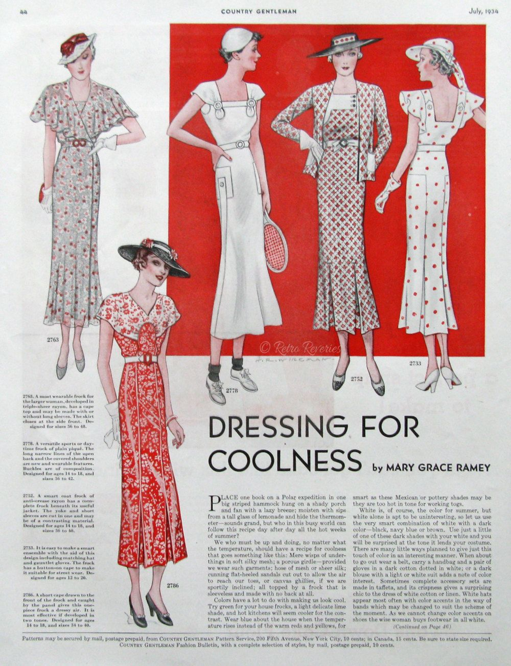 1934 Women\'s Sewing Patterns Ad - Country Gentleman Patterns Ad ...