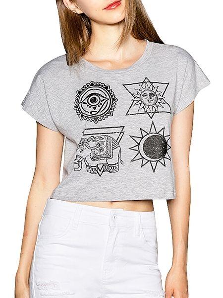 Chic Cartoon Printed Round Neck Short Sleeve T-shirts