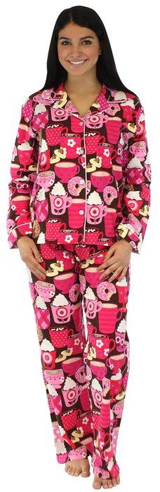 d4045e6ea517 PajamaMania Women s Sleepwear Flannel Pajamas PJ Set Hot Chocolate- Lrg