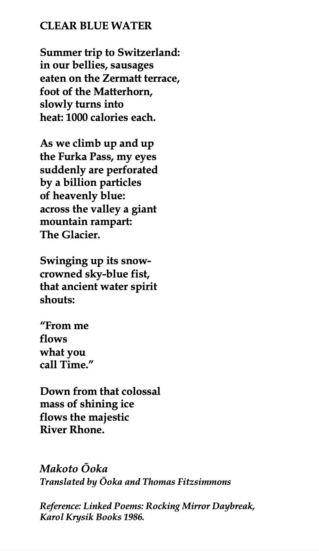 Makoto ōoka Clear Blue Water Clear Blue Water Poems Beautiful Poems