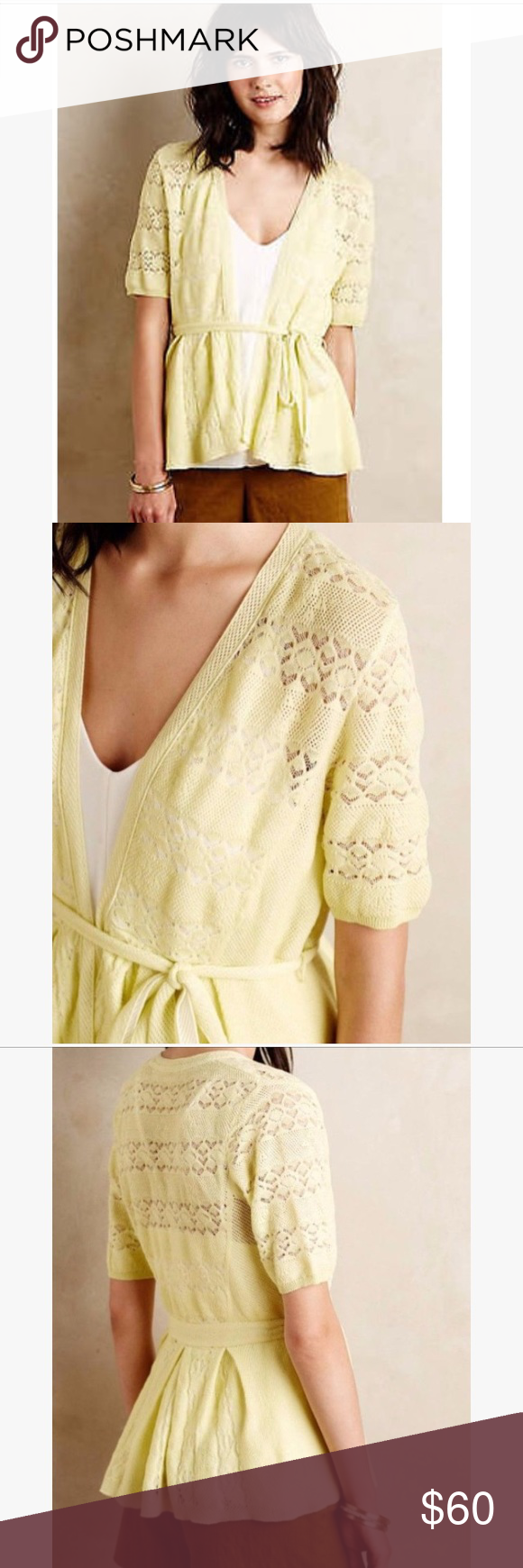 Anthropologie Knitted & Knotted Lace Cardigan NWT | Yellow lace ...