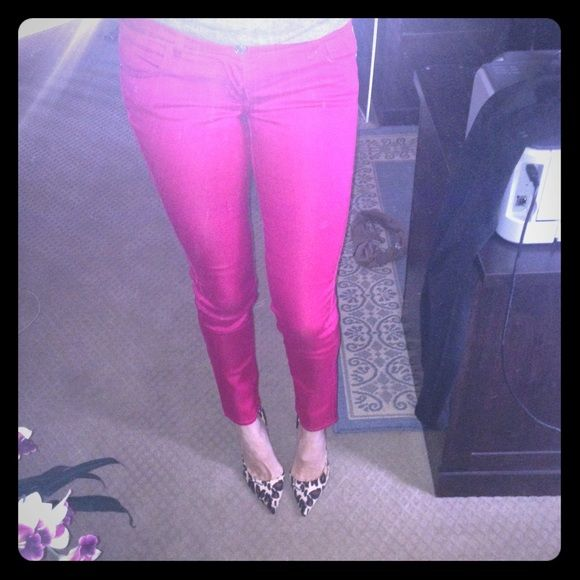 Pink Denim Cute and sexy pink pants. Juniors size. Work only a few times. Please NO TRADES :) Celebrity Pink Pants Skinny