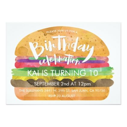 burger birthday party invitation birthday party invitations