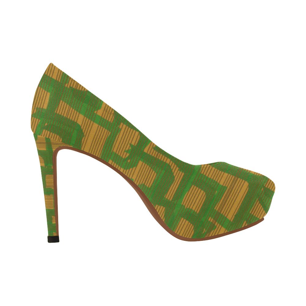 Green Tea And Cookies 4 Inch Green And Tan Platform Heels Madam Juju Platform Pump Shoes Madam Juju Platform Pumps Casual High Heels Womens High Heels