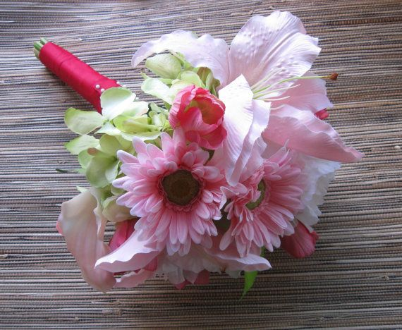 Pink Bridal Bouquet Wedding Flowers Pink Daisy Lily Green