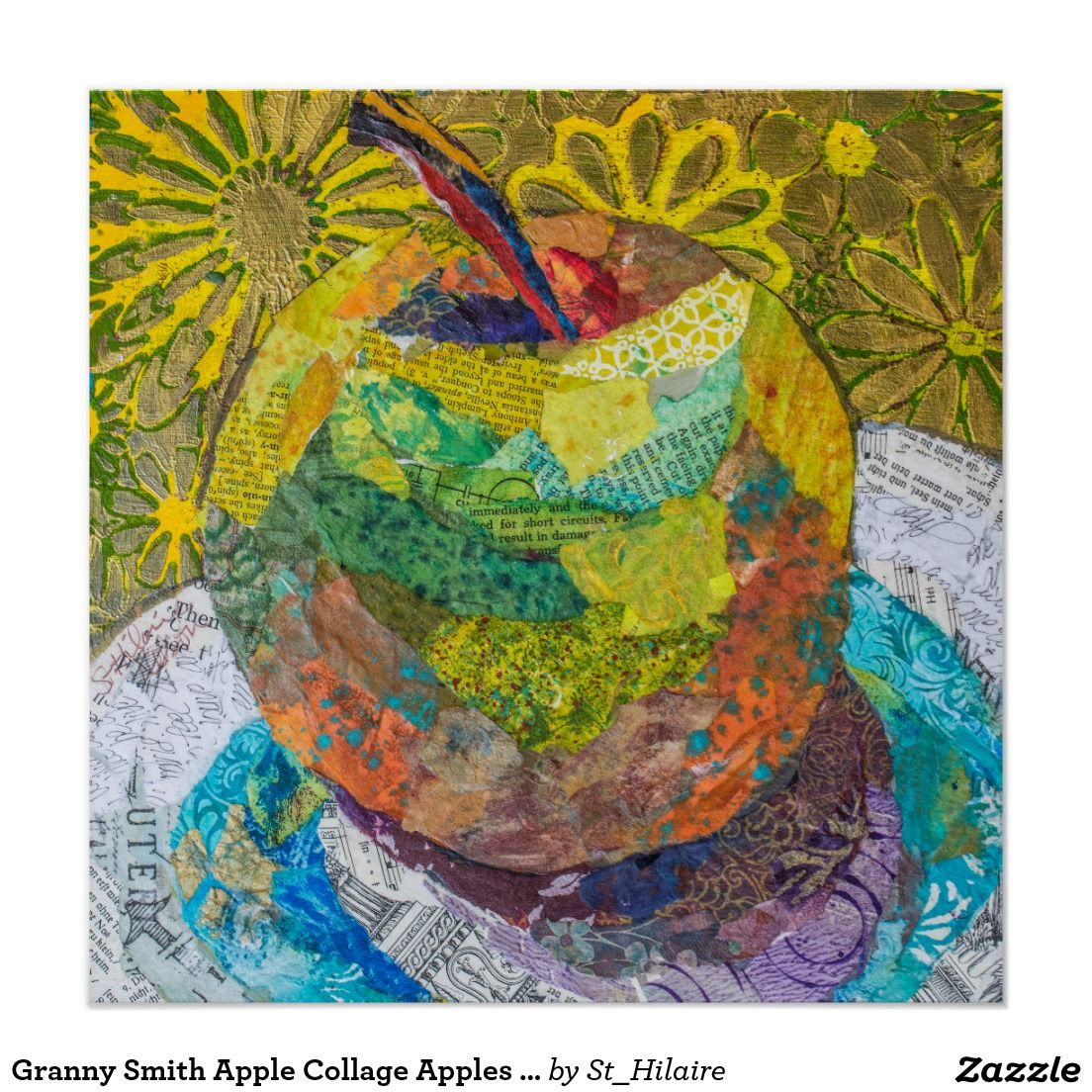 Granny Smith Apple Collage Apples Fruit Plate Poster Art