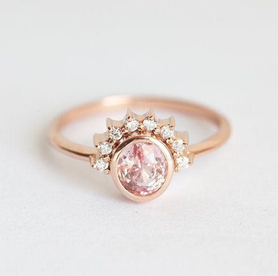One Carat Peach Sapphire Engagement Ring Peach by MinimalVS