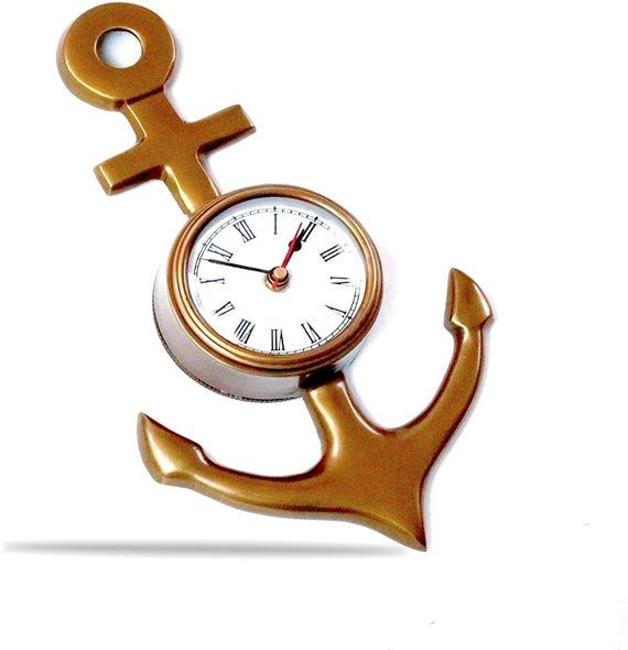 Photo of Ship Anchor Wall Clock, 10″, Antique Finish, Nautical Home Decorations