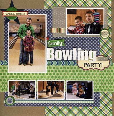 Family Bowling 2012 Layout by Laina Lamb using Jillibean Soup's Macho Nacho Soup Collection, Cherish Banner Bites, Corrugated Alphas, Alphabeans, Soup Labels and Game Day Chili Epoxy Chipboard Buttons (via the Jillibean Soup blog).