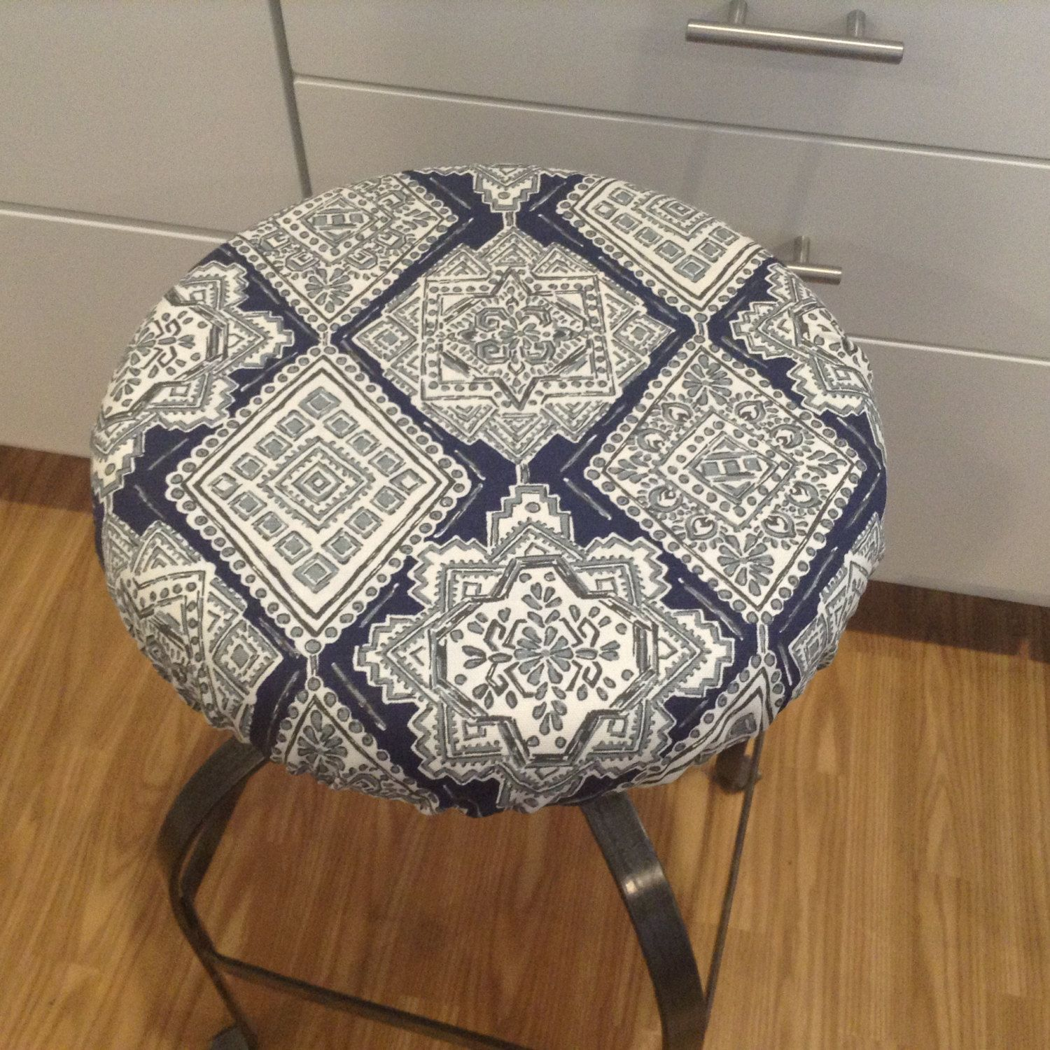 Elasticized Round Barstool Cover Kitchen Counterstool Seat Cover Vintage Indigo Blue With Gray On White Wa Bar Stool Cushions Bar Stool Covers Vintage Indigo