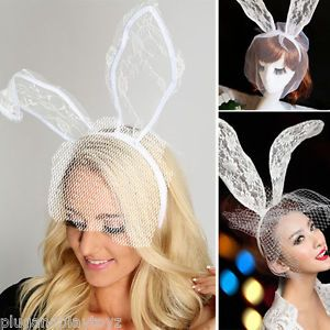 White Bridal Boudior Lingerie Fascinator Floral Lace Bunny Ears Fishnet  Headband in Clothing baa10e331c2