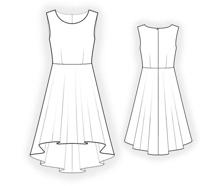 Dress With Skirt Short In Front - Sewing Pattern #4411. Made-to ...