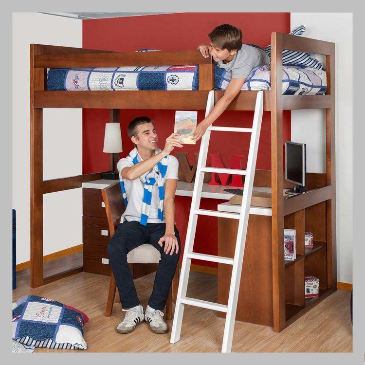 Camarote en madera con escritorio cam 03 100 decoraci n for Camarote con escritorio