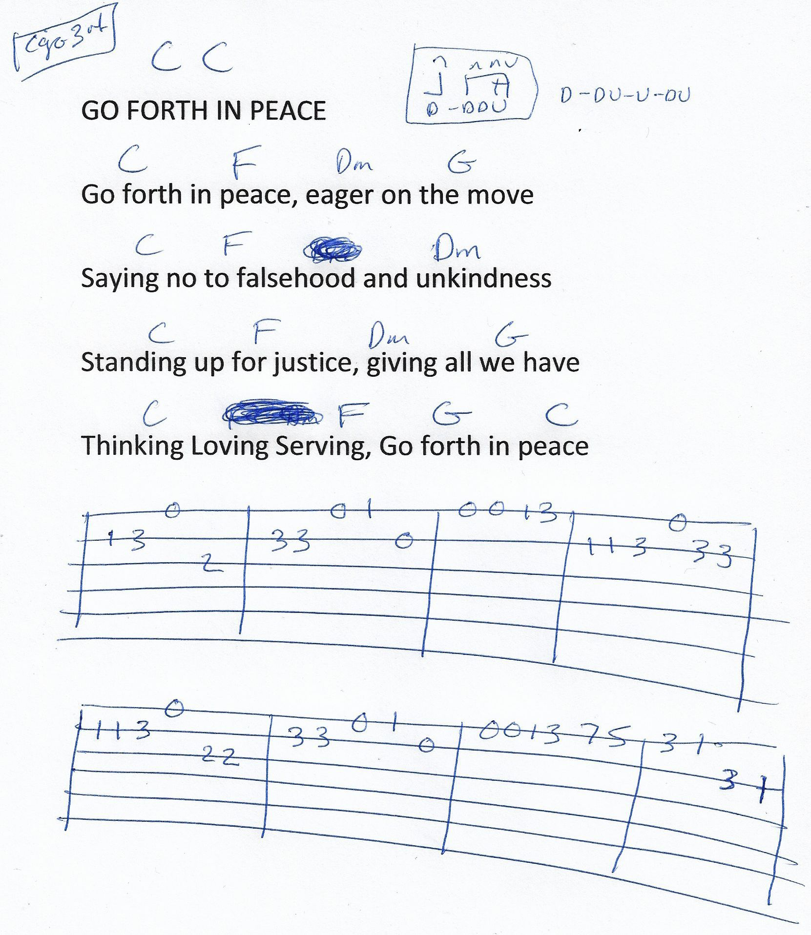 Go Forth In Peace Hymn Guitar Chord Chart In C Major 2018