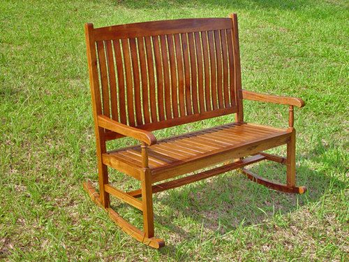 Attirant 2 Person Outdoor Wood Rocker Rocking Bench Seat Chair For Patio Garden  Furniture | EBay