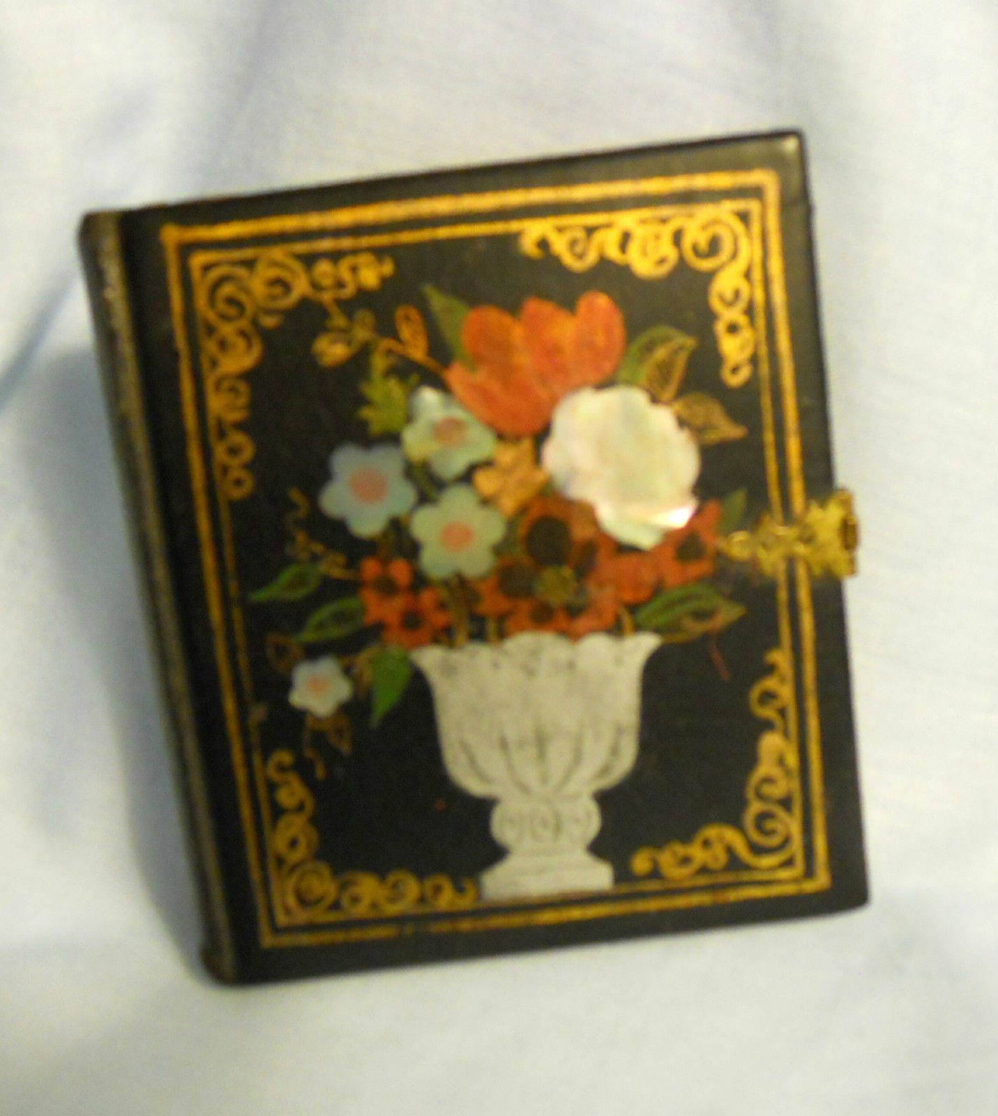 1850s PHOTO CASE INLAID with ABELONE, VASE with FLOWERS with TINTYPE OF GIRL | eBay