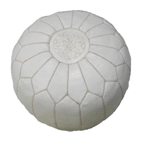 White Pouf Ottoman Handmade Contemporary Handmade Imported Genuineleather Ottoman Pouf