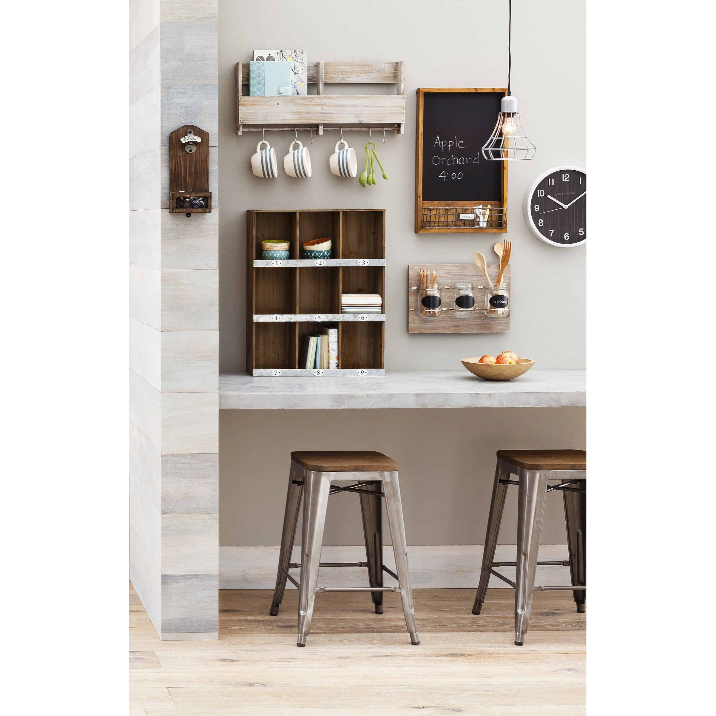 Dining Room Wall Shelves Wooden Shelf With S Hooks Threshold Home Decor