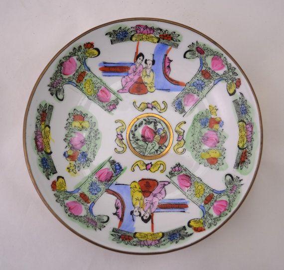 Vintage Asian Floral Decorative Ceramic / Brass Wall Hanging Plate Porcelain Enamel Bowl & Vintage Asian Floral Decorative Ceramic / Brass Wall Hanging Plate ...