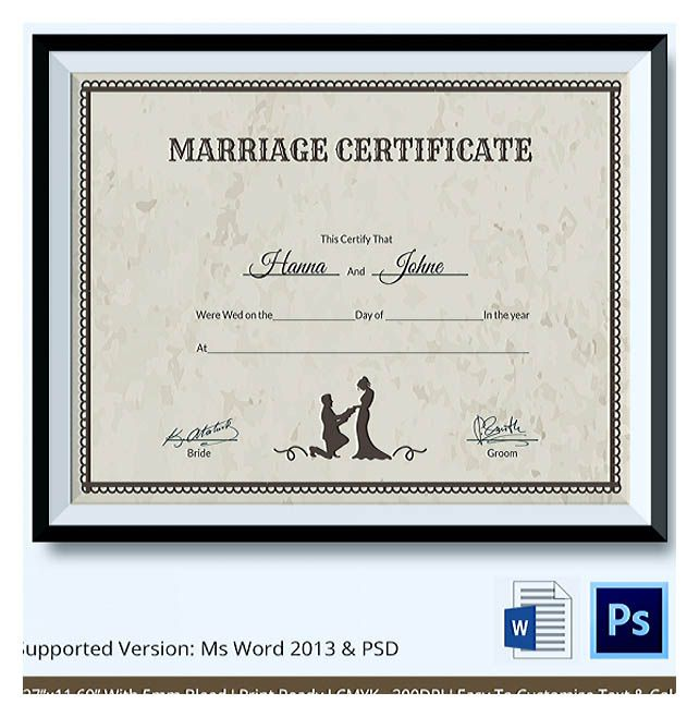 Designing Using Marriage Certificate Template for Your Own - wedding certificate template