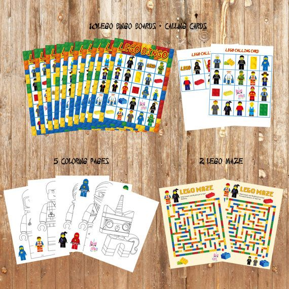 DIY Printable Lego Party Game Pack. Lego Bingo Games. Lego Maze ...