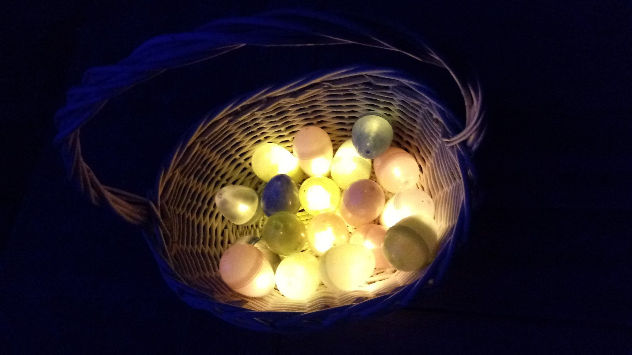 Glow-in-the-Dark egg hunt; place LED battery operated tea ...