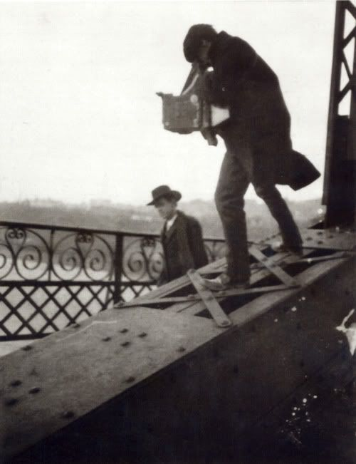 Alfred Stieglitz Photographing on a Bridge, ca. 1905 (photographer unknown)
