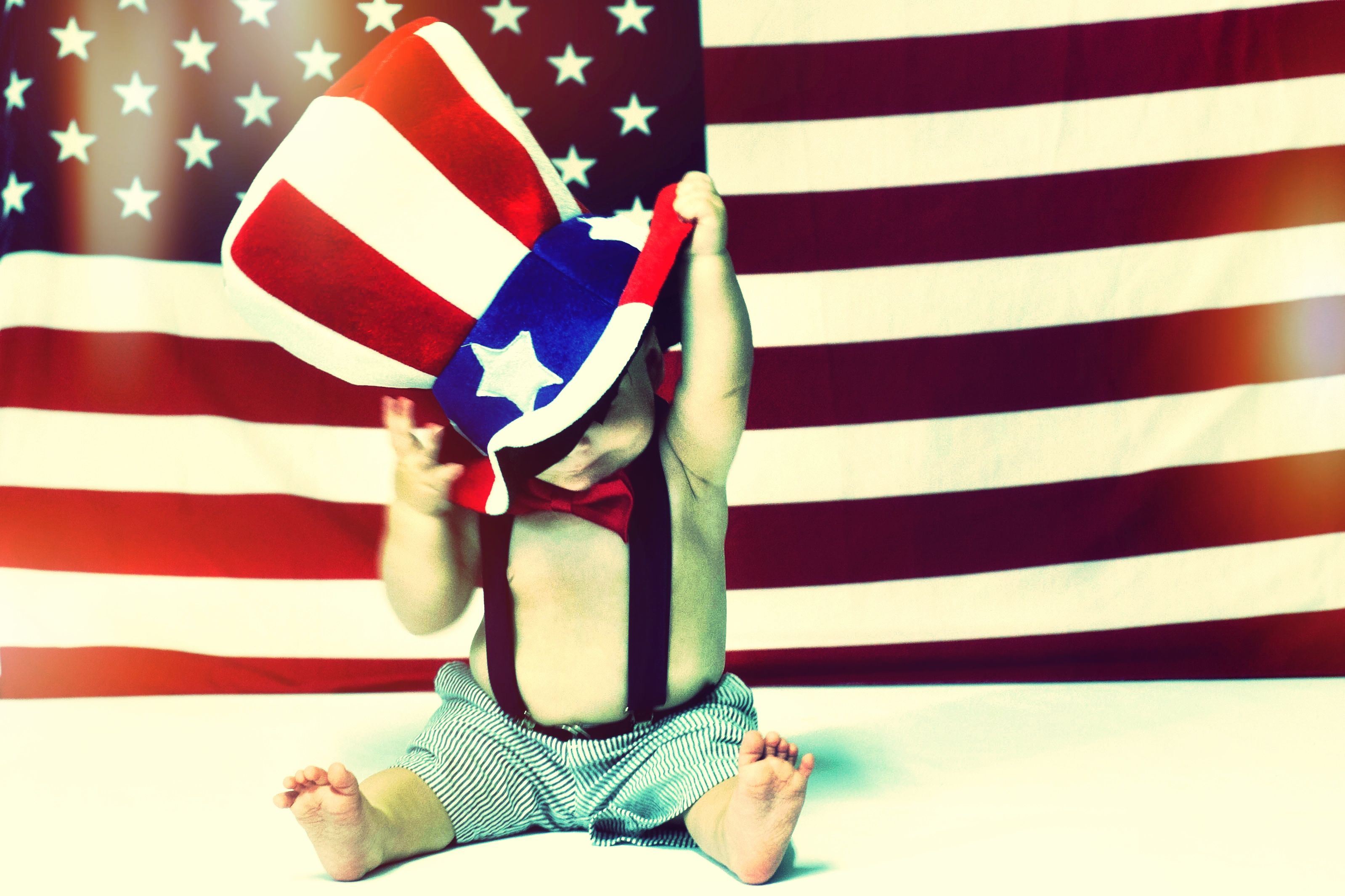 Baby With American Flag Happy 4Th Of July