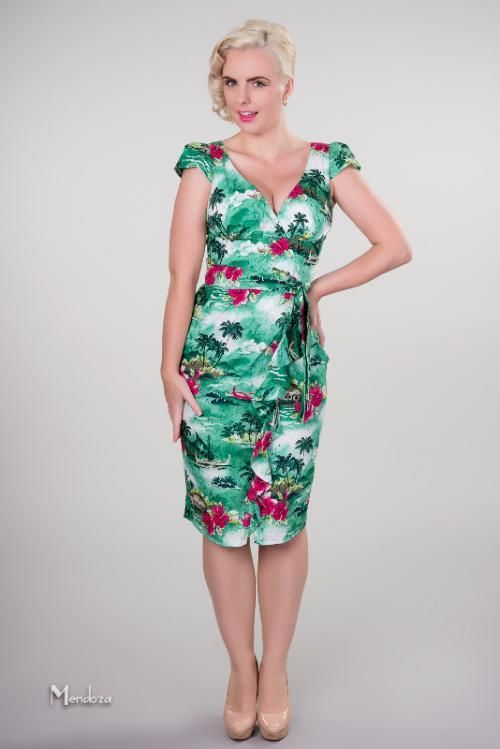 1940s hawaiian dress - green bird of paradise and plumeria | Repro ...