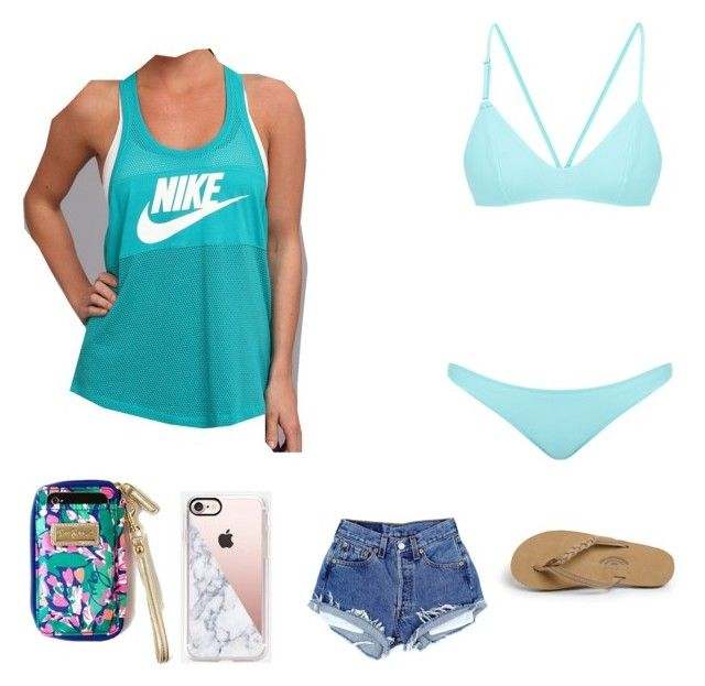 """""""Went swimming to say!🌊"""" by hhaileyreynolds on Polyvore featuring NIKE, Bower, Casetify and Rainbow"""