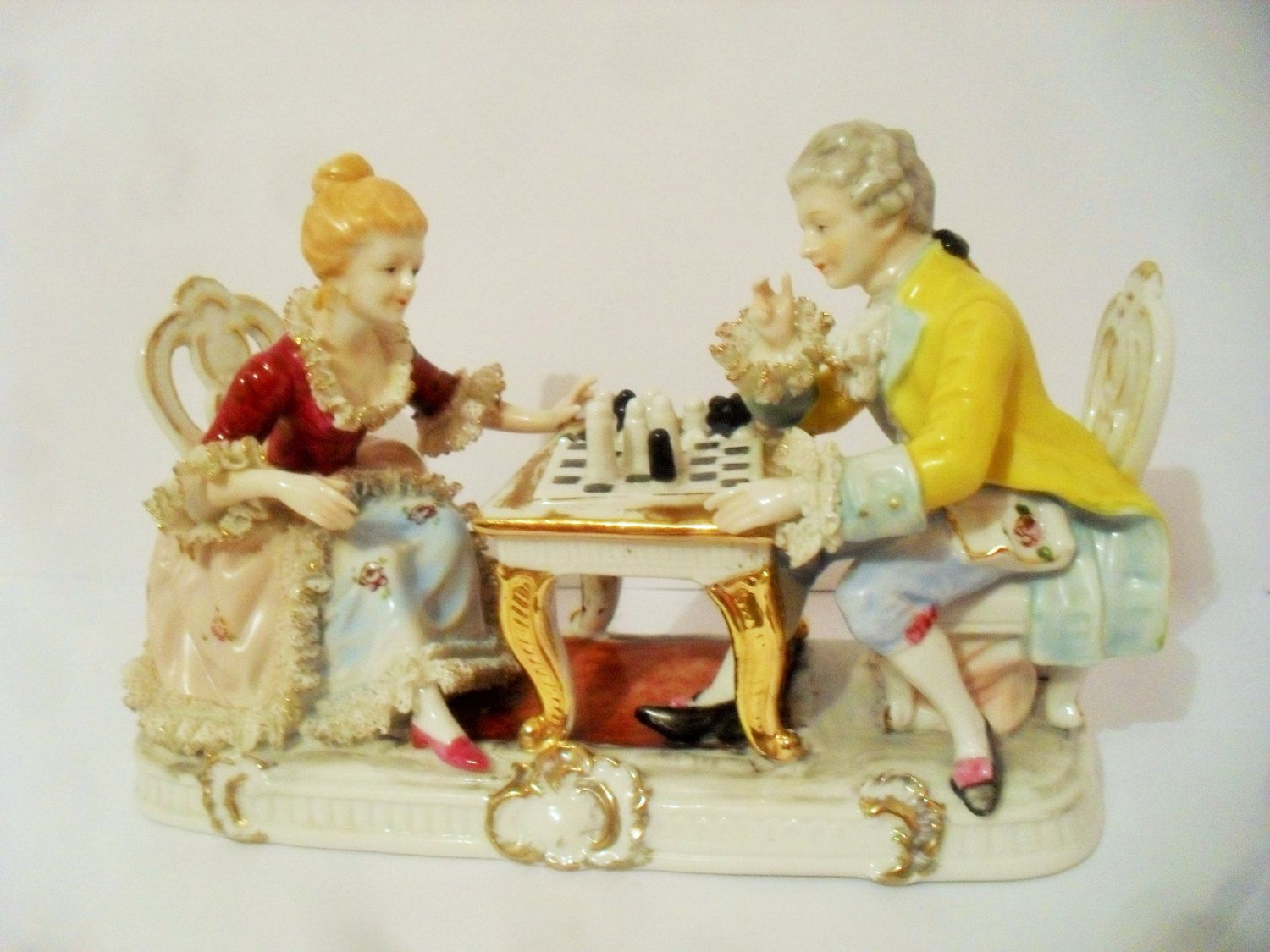 Dresden Porcelain Lace Figurine 18thC Lady And Gentleman Sitting ...