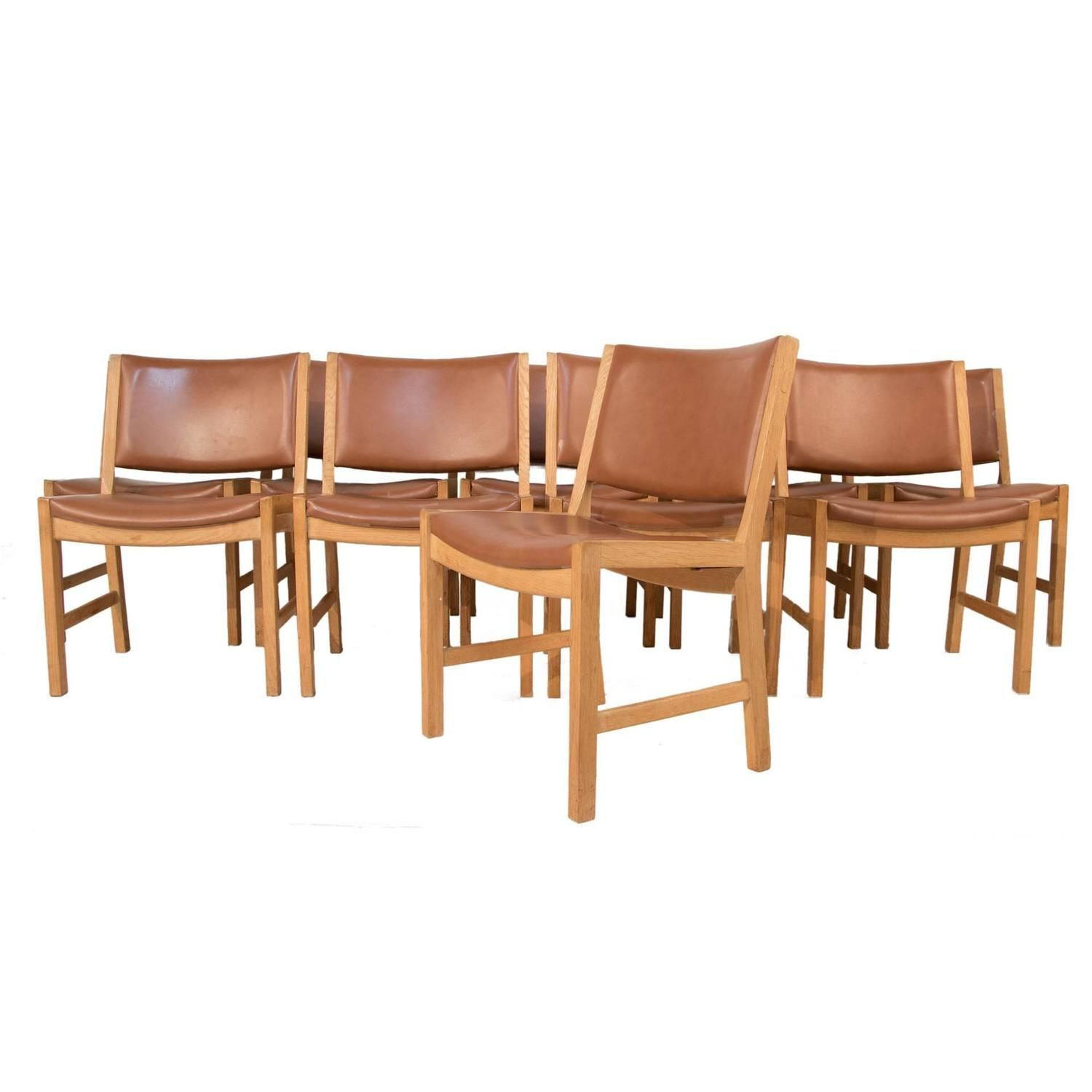 Set of Ten Leather Dining Chairs by Hans Wegner