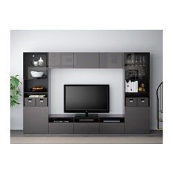 BESTÅ TV storage combination/glass doors - black-brown/Selsviken high-gloss/grey clear glass, drawer runner, push-open - IKEA