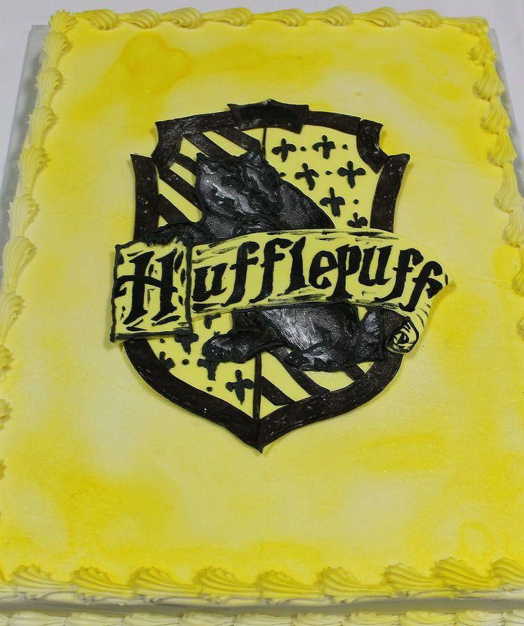 Harry Potter cakes; house crest sheet cakes; hufflepuff cake ...