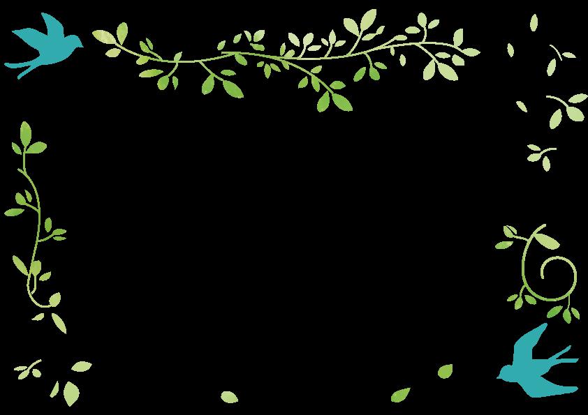 青い鳥と葉っぱのフレーム フレーム イラスト 無料 フレーム 無料