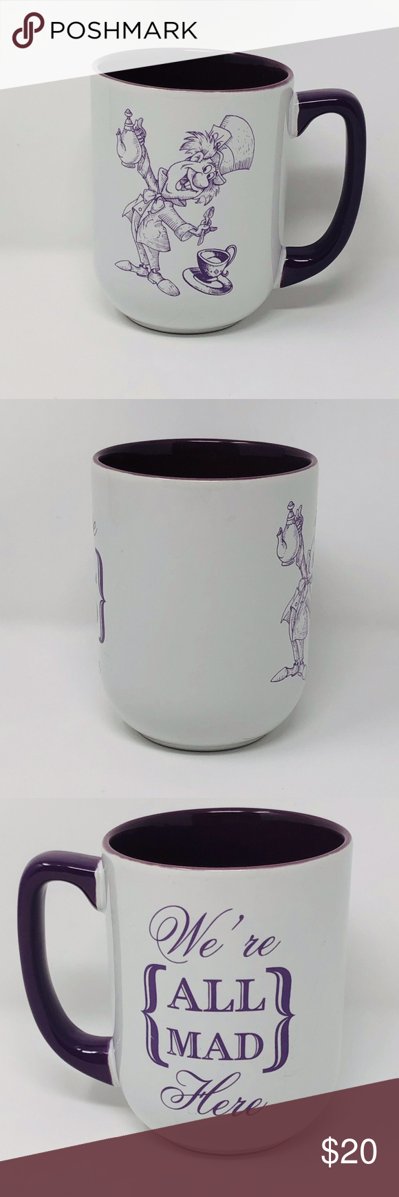 WE'RE ALL MAD HERE Mad Hatter Coffee Mug Disney WE'RE ALL MAD HERE Mad Hatter Coffee Mug Alice Wonderland Tea Cup  Description: 14 fl. oz.  Condition: Pre-owned with no obvious flaws.  ss1-e233 0719 Disney Dining Dinnerware #disneycoffeemugs