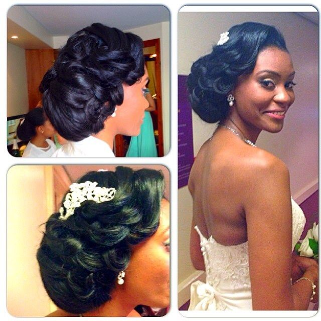 Nigerian Wedding Bridal Hairstyles For Black Brides Bridesmaids African Hairstyles Bride Hairstyles Bridesmaid Hair