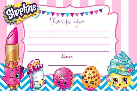 Shopkins Personalizadas Gracias Nota Tarjetas Diy Por