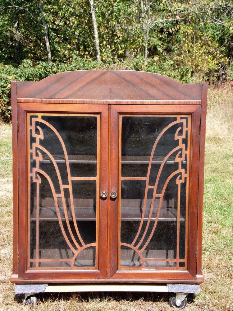 Antique Art Deco Walnut Tabletop Curio Display Wall Cabinet Fretwork