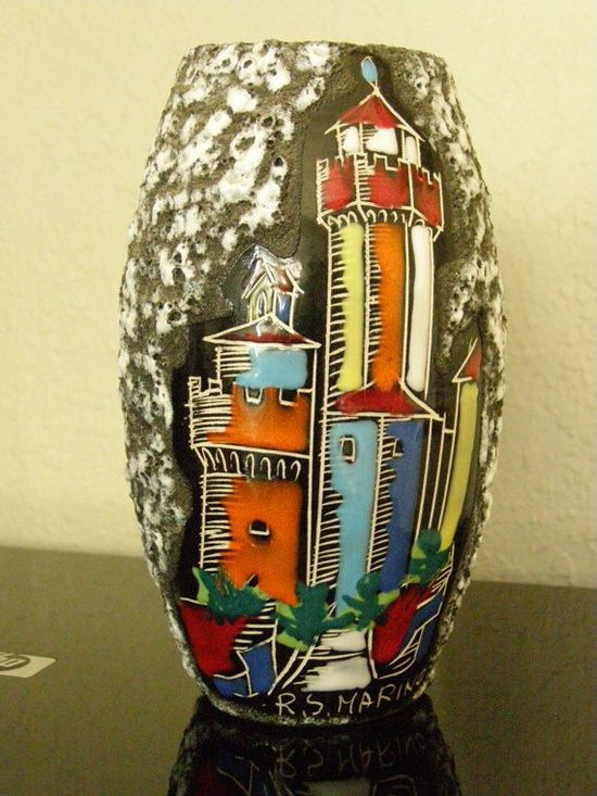Vintage Republic Of San Marino Italy Hand Painted Lava By