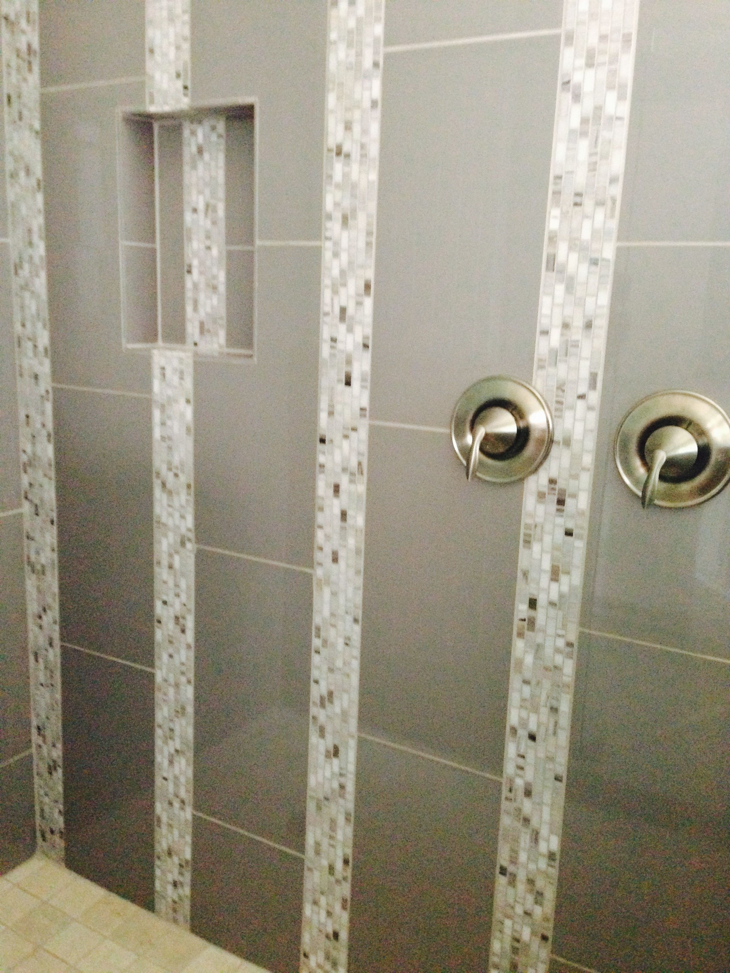 12x24 High Gloss Porcelain Tile With Decorative Mosaic Accent 2x2 Marble Shower Floor And Niche