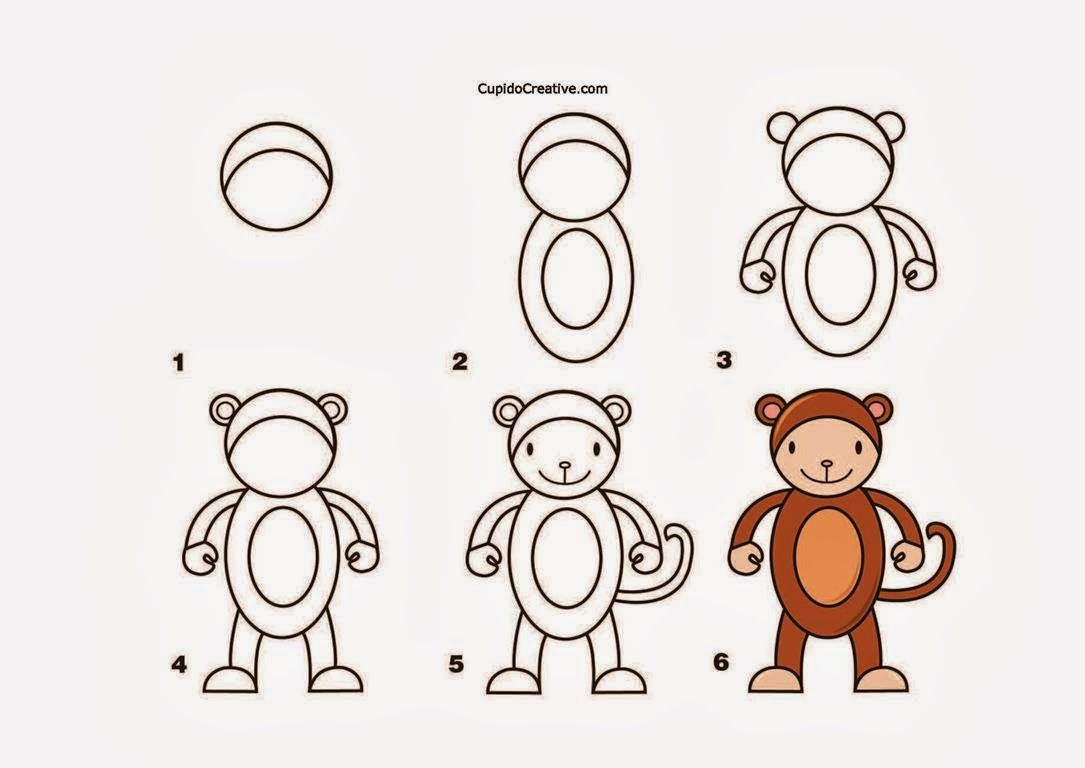 Kerajinan Anak Tk Sd Langkah Cara Menggambar Monyet Mewarnai