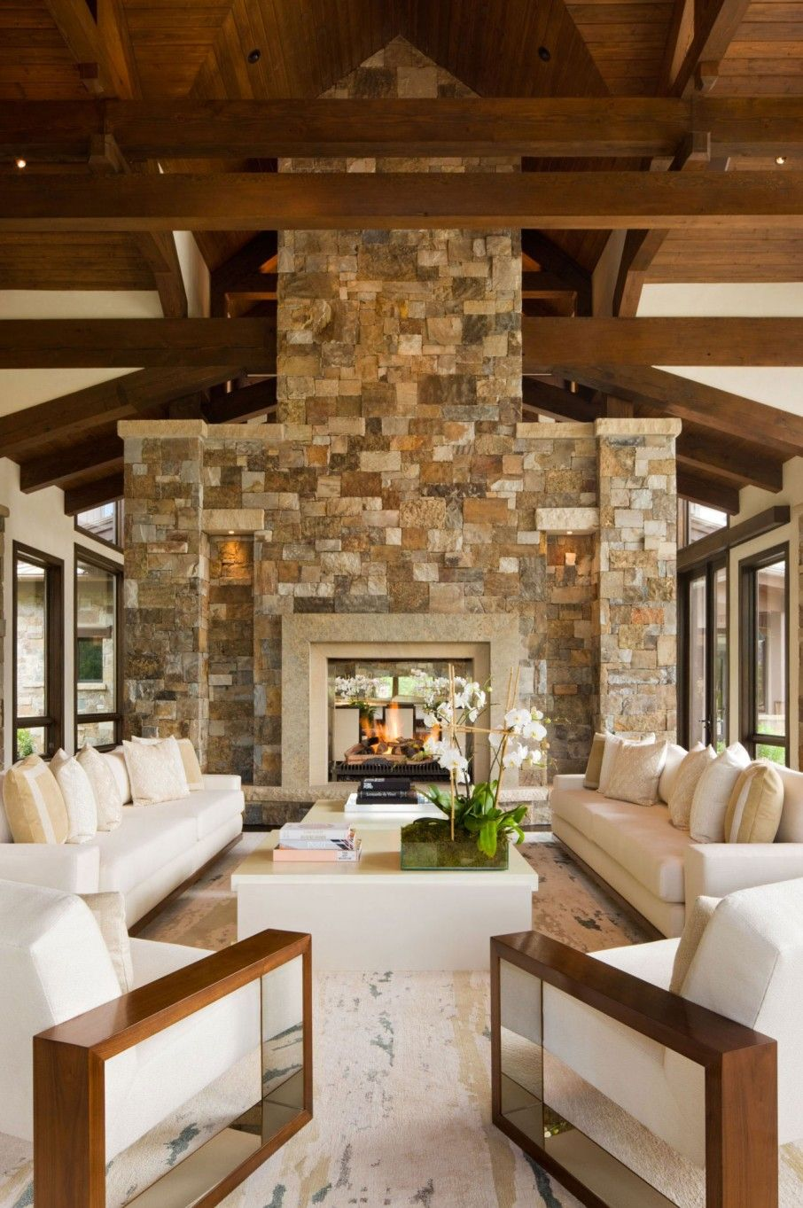 Elegant Mountain Contemporary Home In Colorado Radiates With Warmth: Alluring Rustic Interior In Open Plan Concept: Innovative Sitting Space With Stone Wall And Some