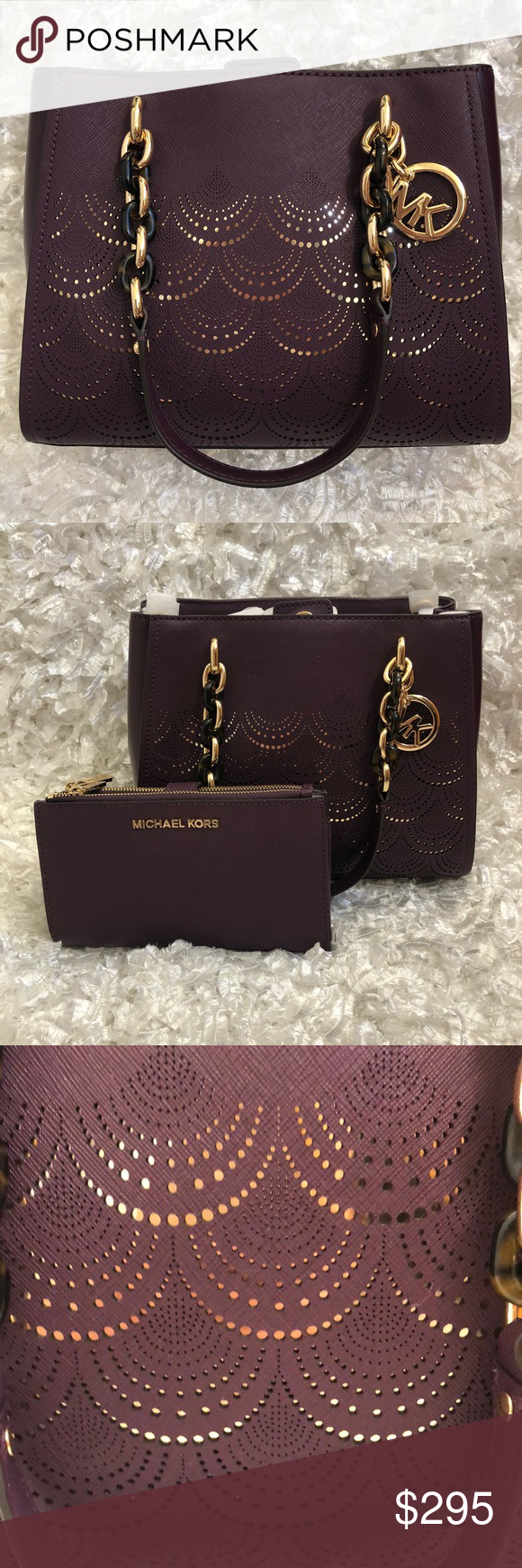 b879c49dbba7 MICHAEL KORS Sofia MD NS Tote   Jet Set Wristlet Sofia Md Ns Chain  Perforated Handbag Damson Saffiano Leather Tote Color  Damson (Plum) Snap  top closure ...