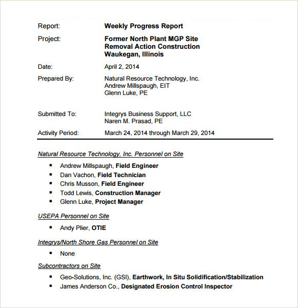 sample weekly progress report template free documents pdf download - sample progress report