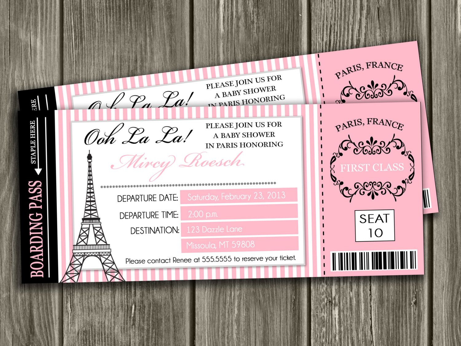 Paris Boarding Pass Baby Shower Invitation by DazzleExpressions ...