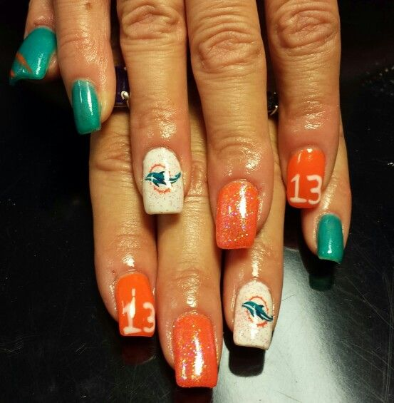 Miami Dolphins Nails Nails In 2018 Pinterest Miami Dolphins