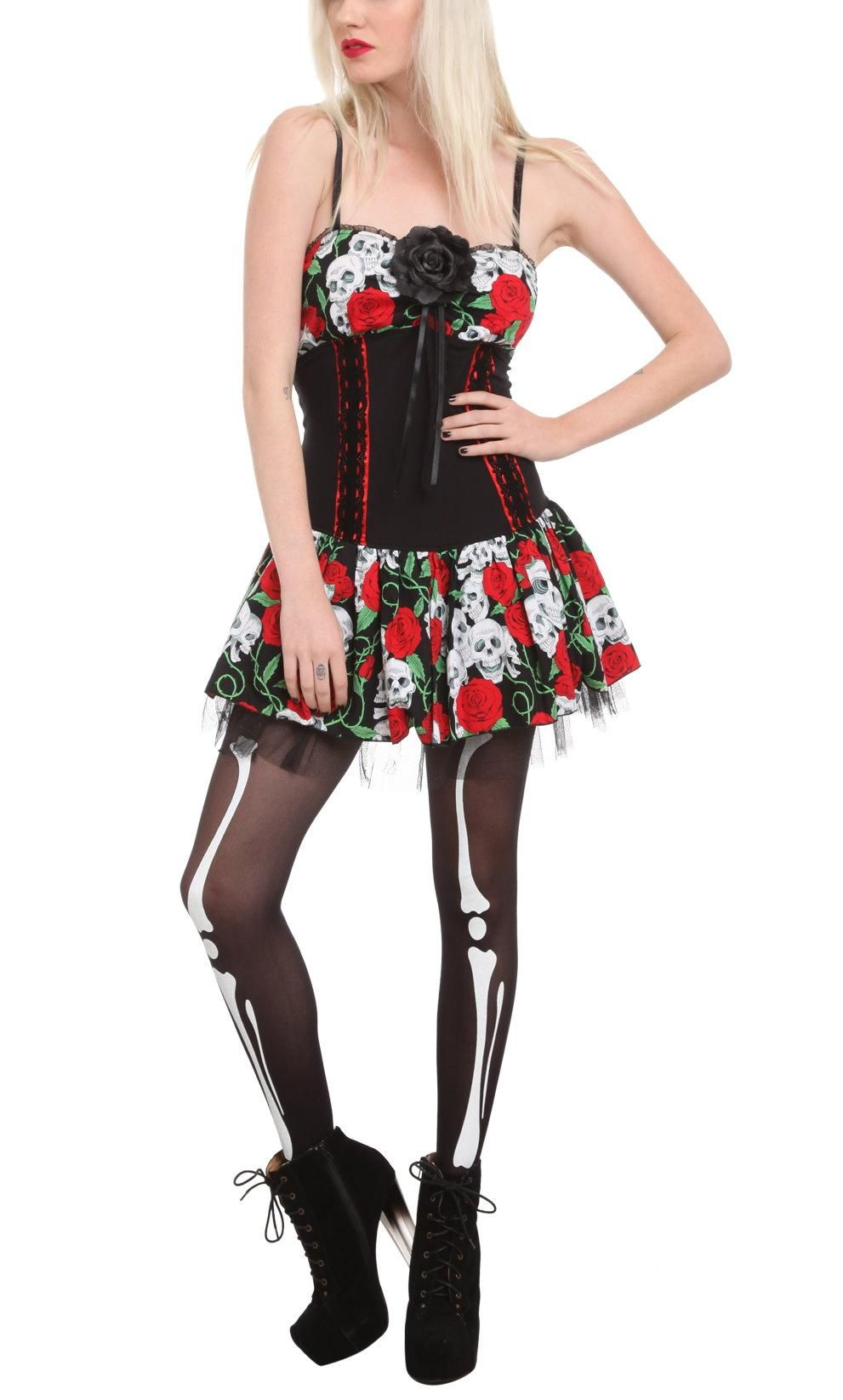 Day of the dead rose skull dress for sale by lutherus teeth at