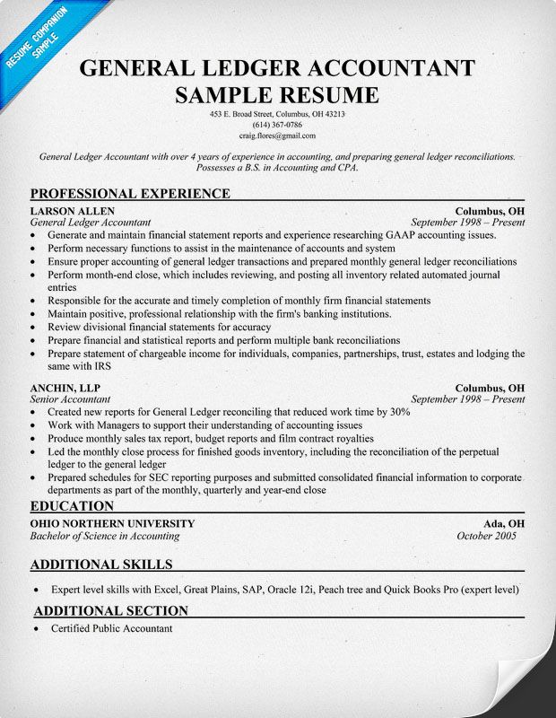 general ledger accountant resume sample companion examples - Home