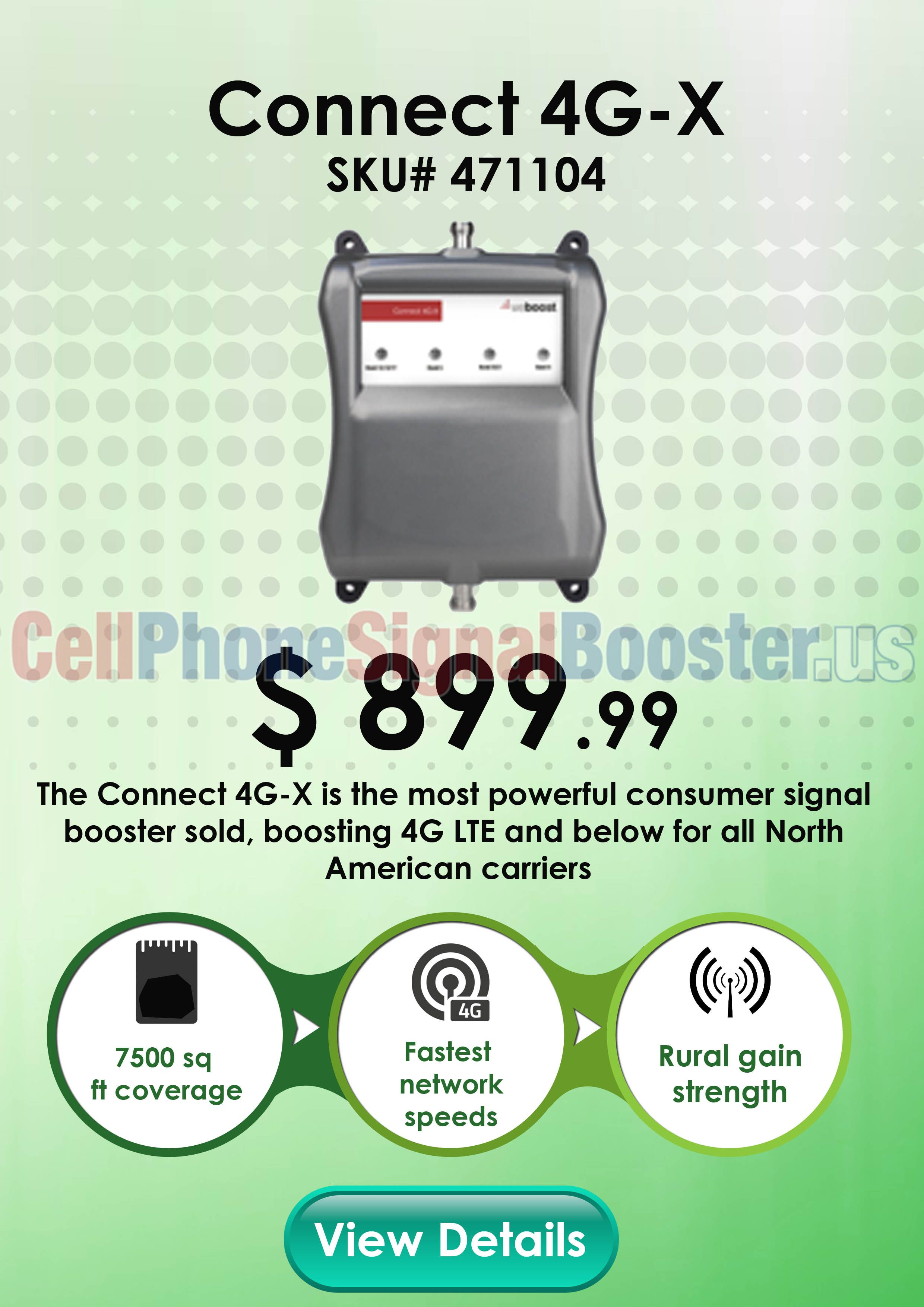Weboost Connect 4g X 471104 Large Area Signal Booster Signal Boosters Connection Boosters